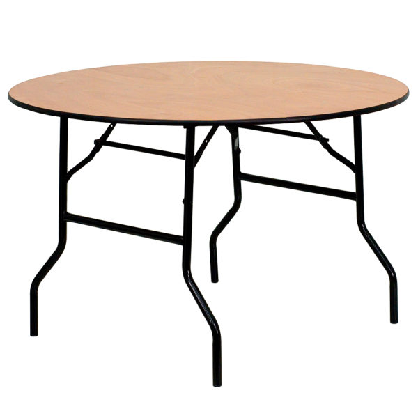 ... Table 6 To 8 People. 48%22 Round With 32%22H Wood Folding