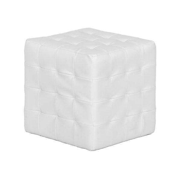 White Leather Cube Ottoman