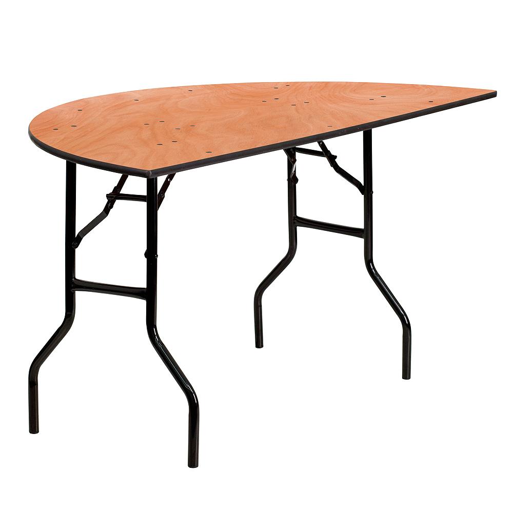 60%22-Half-Round-Wood-Folding-Table