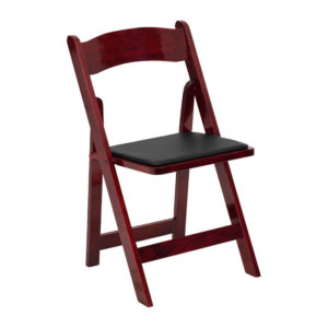 Red-Mahogany-Wood-Folding-Chair-with-Black-Vinyl-Padded-Seat