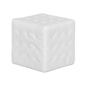 White-Leather-Cube-Ottoman